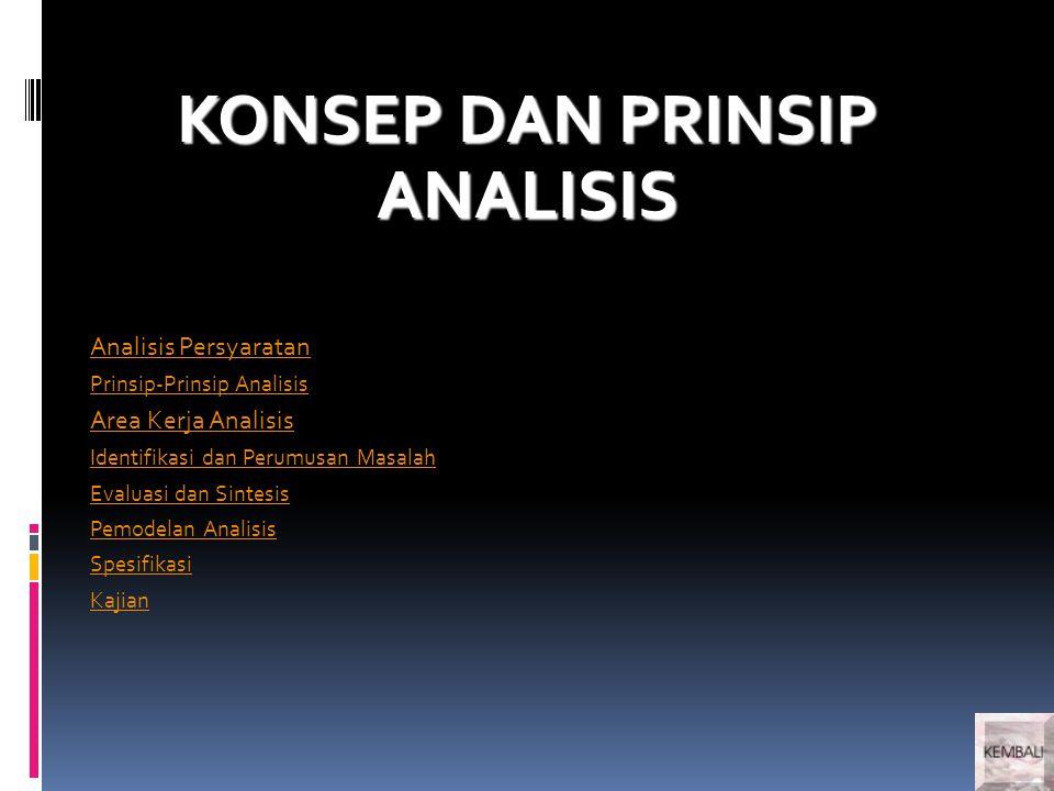 KONSEP DAN PRINSIP ANALISIS Analisis Persyaratan Prinsip-Prinsip Analisis Area Kerja Analisis Identifikasi dan Perumusan Masalah Evaluasi dan Sintesis Pemodelan Analisis Spesifikasi Kajian