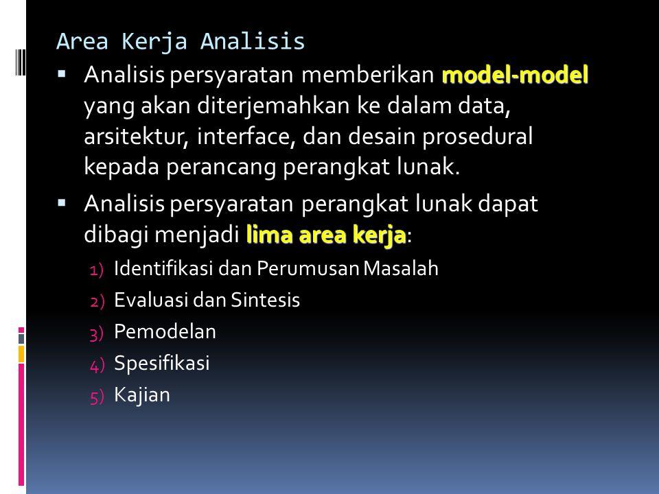 Area Kerja Analisis model-model  Analisis persyaratan memberikan model-model yang akan diterjemahkan ke dalam data, arsitektur, interface, dan desain prosedural kepada perancang perangkat lunak.