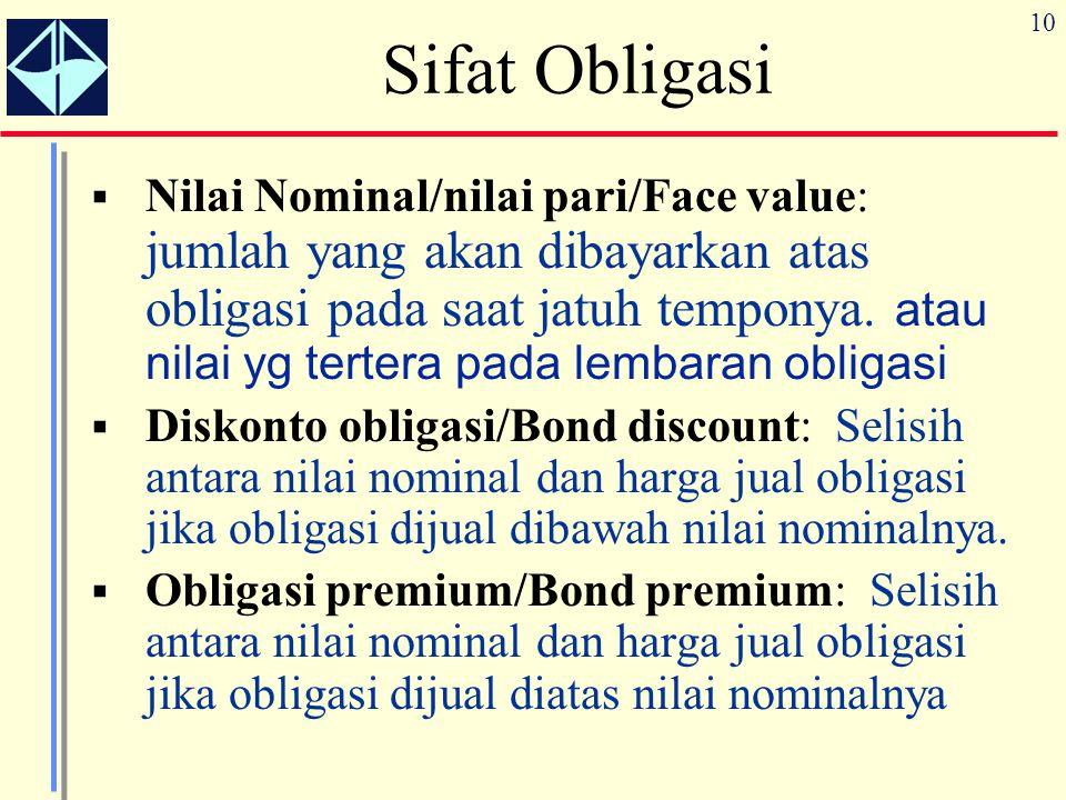 10  Nilai Nominal/nilai pari/Face value: jumlah yang akan dibayarkan atas obligasi pada saat jatuh temponya. atau nilai yg tertera pada lembaran obli