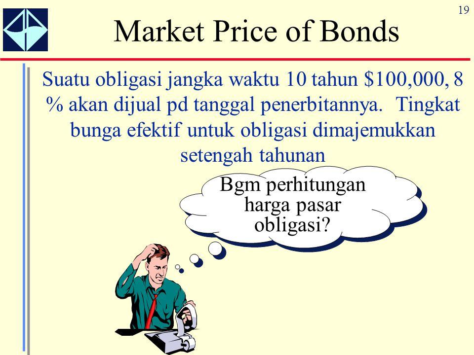 19 Market Price of Bonds Suatu obligasi jangka waktu 10 tahun $100,000, 8 % akan dijual pd tanggal penerbitannya. Tingkat bunga efektif untuk obligasi