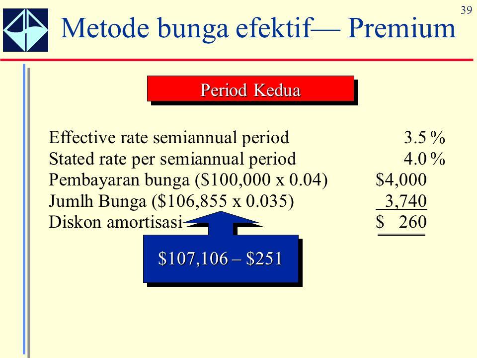 39 Metode bunga efektif— Premium Effective rate semiannual period3.5% Stated rate per semiannual period4.0% Pembayaran bunga ($100,000 x 0.04)$4,000 J