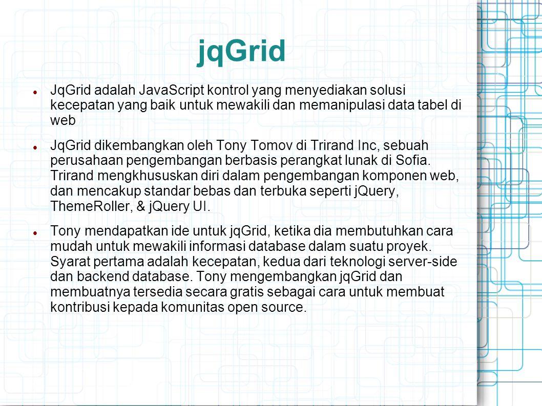 jqGrid JqGrid adalah JavaScript kontrol yang menyediakan solusi kecepatan yang baik untuk mewakili dan memanipulasi data tabel di web JqGrid dikembangkan oleh Tony Tomov di Trirand Inc, sebuah perusahaan pengembangan berbasis perangkat lunak di Sofia.