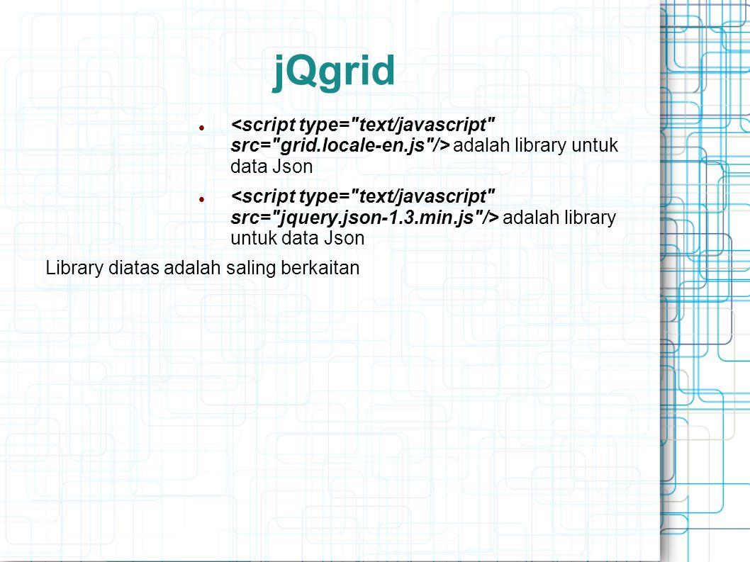 jQgrid adalah library untuk data Json Library diatas adalah saling berkaitan