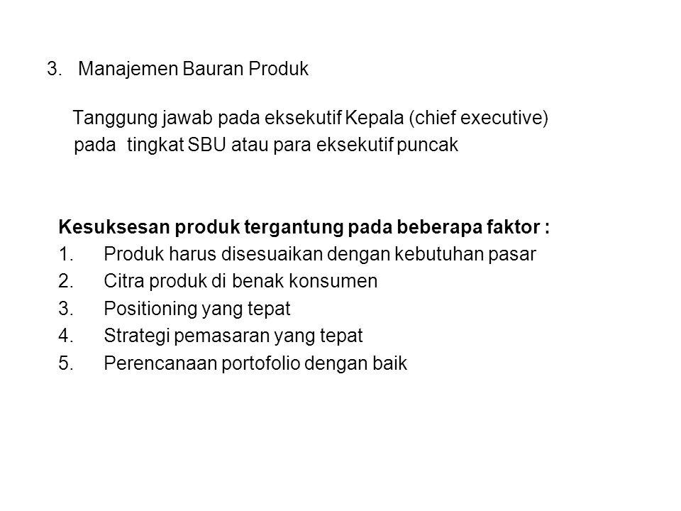 3. Manajemen Bauran Produk Tanggung jawab pada eksekutif Kepala (chief executive) pada tingkat SBU atau para eksekutif puncak Kesuksesan produk tergan