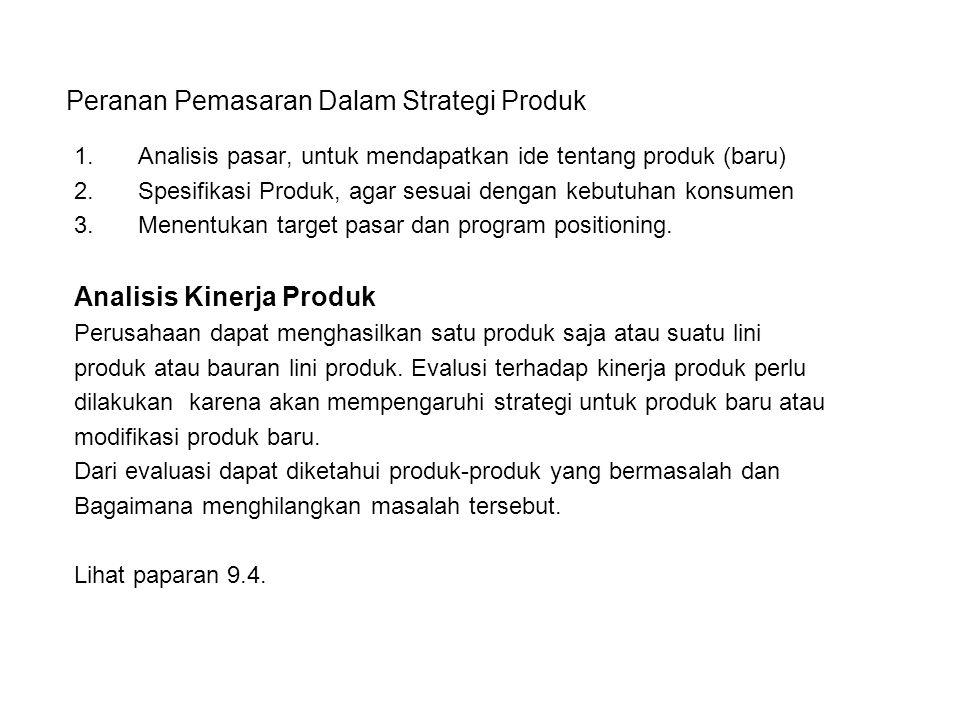 Peranan Pemasaran Dalam Strategi Produk 1.Analisis pasar, untuk mendapatkan ide tentang produk (baru) 2.Spesifikasi Produk, agar sesuai dengan kebutuh