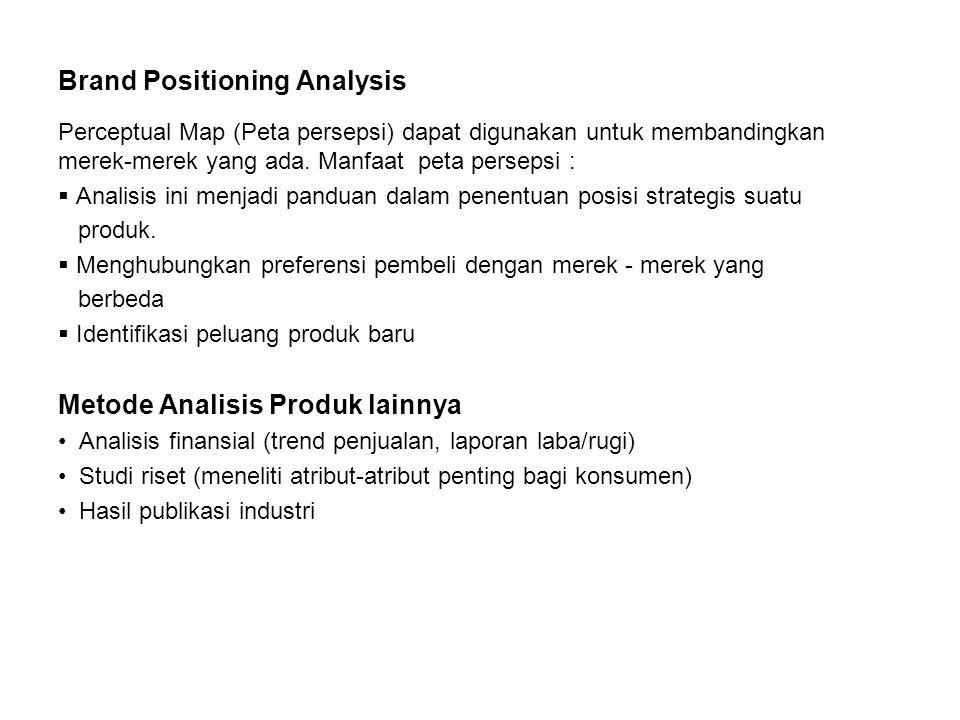 Brand Positioning Analysis Perceptual Map (Peta persepsi) dapat digunakan untuk membandingkan merek-merek yang ada. Manfaat peta persepsi :  Analisis
