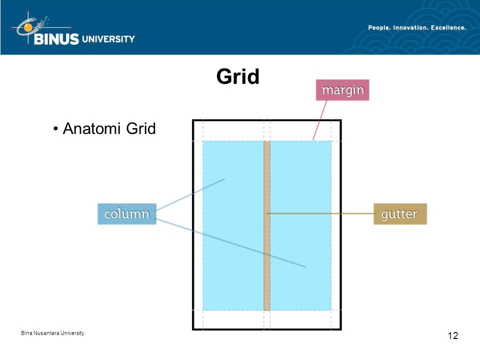 Bina Nusantara University 12 Grid Anatomi Grid