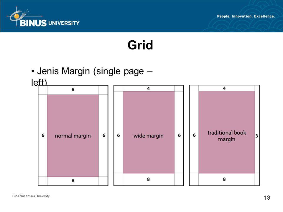 Bina Nusantara University 13 Grid Jenis Margin (single page – left)