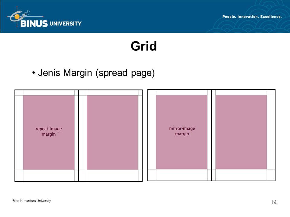 Bina Nusantara University 14 Grid Jenis Margin (spread page)