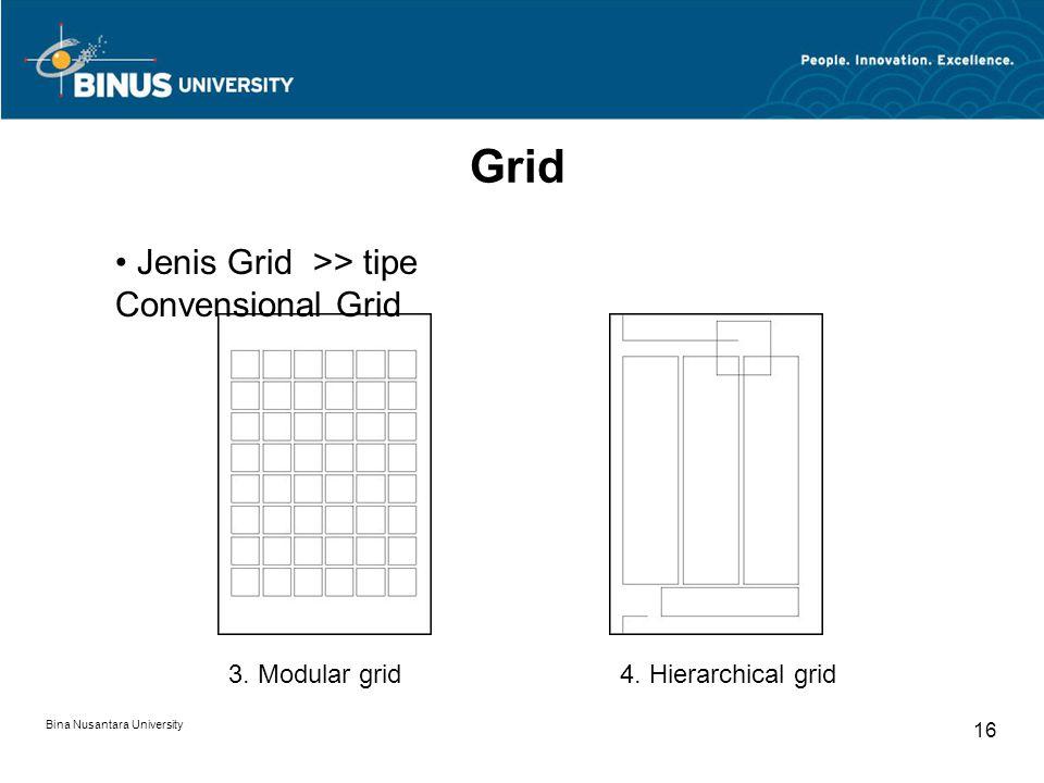 Bina Nusantara University 16 Grid 3. Modular grid4. Hierarchical grid Jenis Grid >> tipe Convensional Grid
