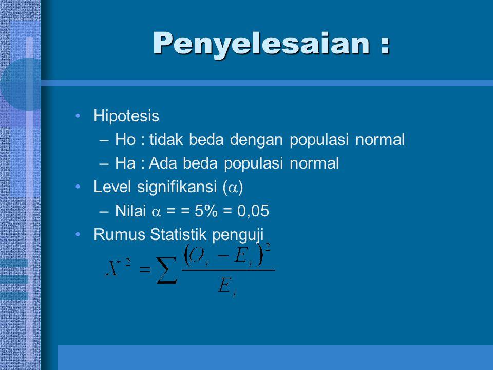 Penyelesaian : Hipotesis –Ho : tidak beda dengan populasi normal –Ha : Ada beda populasi normal Level signifikansi (  ) –Nilai  = = 5% = 0,05 Rumus