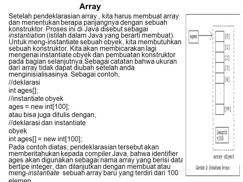 Setelah pendeklarasian array, kita harus membuat array dan menentukan berapa panjangnya dengan sebuah konstruktor.