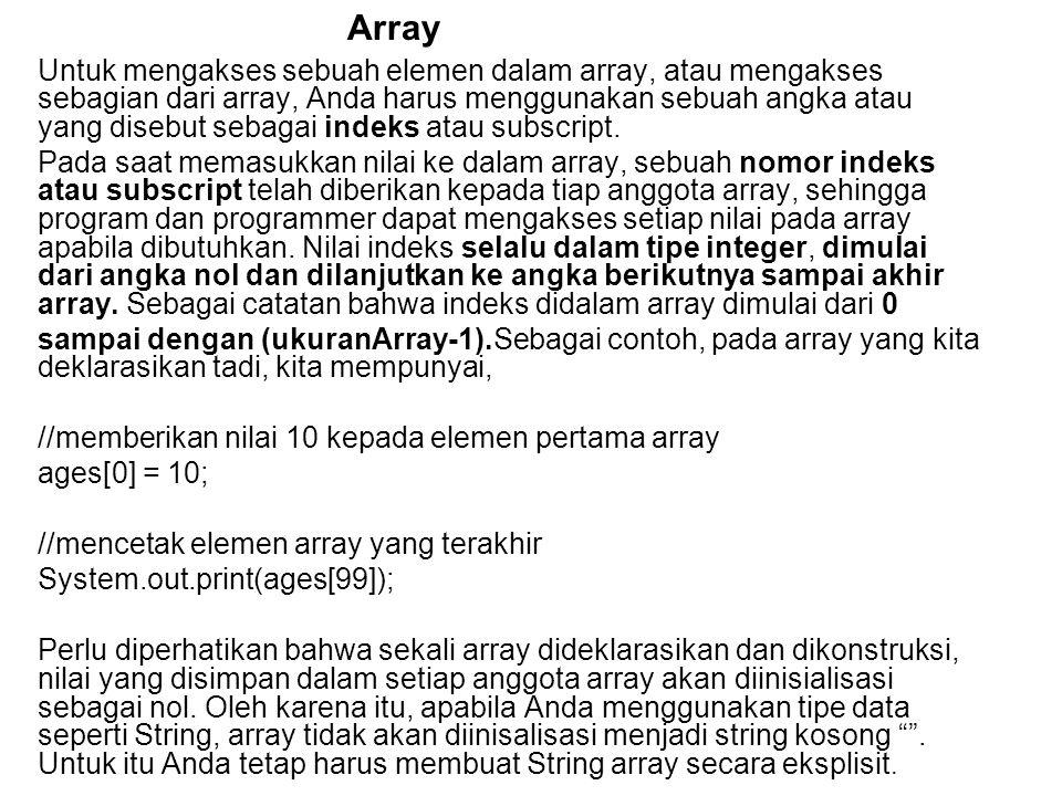 Untuk mengakses sebuah elemen dalam array, atau mengakses sebagian dari array, Anda harus menggunakan sebuah angka atau yang disebut sebagai indeks atau subscript.