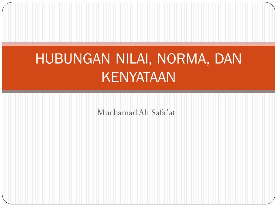 Muchamad Ali Safa'at HUBUNGAN NILAI, NORMA, DAN KENYATAAN