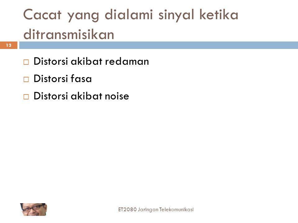 Cacat yang dialami sinyal ketika ditransmisikan  Distorsi akibat redaman  Distorsi fasa  Distorsi akibat noise ET2080 Jaringan Telekomunikasi 13