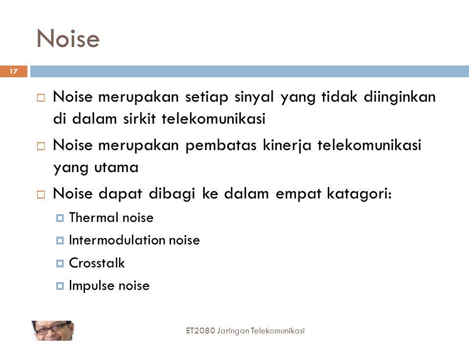 17 Noise  Noise merupakan setiap sinyal yang tidak diinginkan di dalam sirkit telekomunikasi  Noise merupakan pembatas kinerja telekomunikasi yang u
