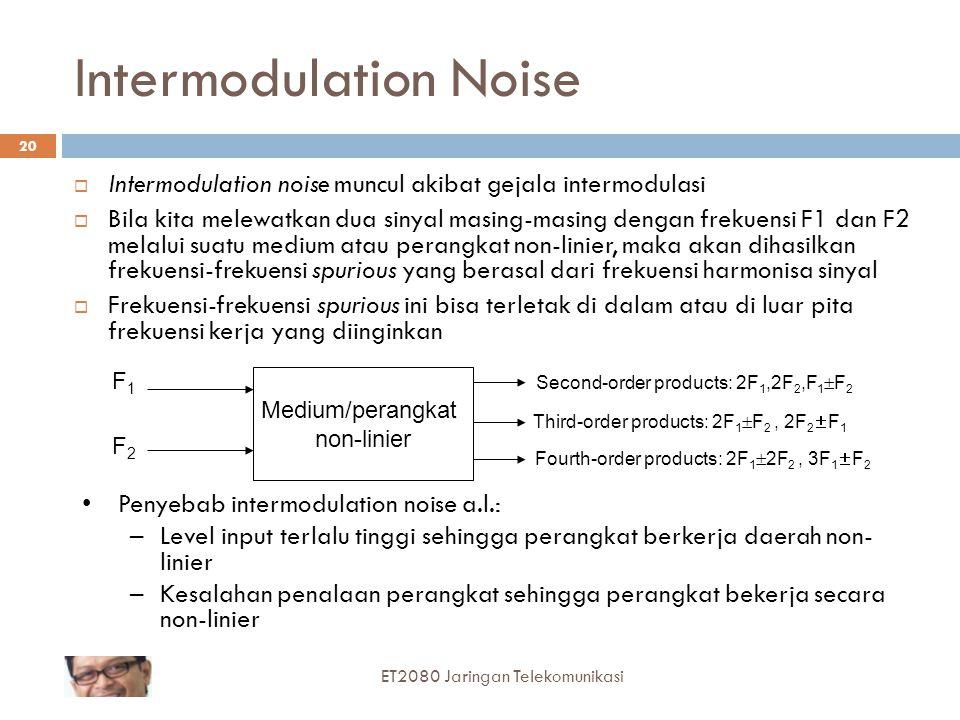 Intermodulation Noise  Intermodulation noise muncul akibat gejala intermodulasi  Bila kita melewatkan dua sinyal masing-masing dengan frekuensi F1 d