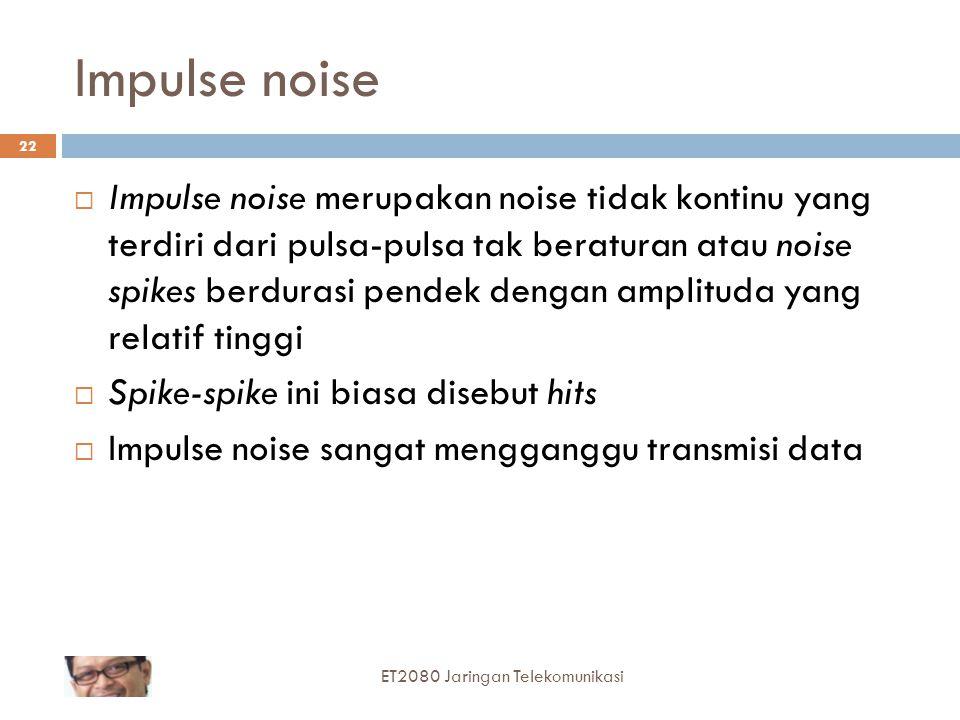 22 Impulse noise  Impulse noise merupakan noise tidak kontinu yang terdiri dari pulsa-pulsa tak beraturan atau noise spikes berdurasi pendek dengan a