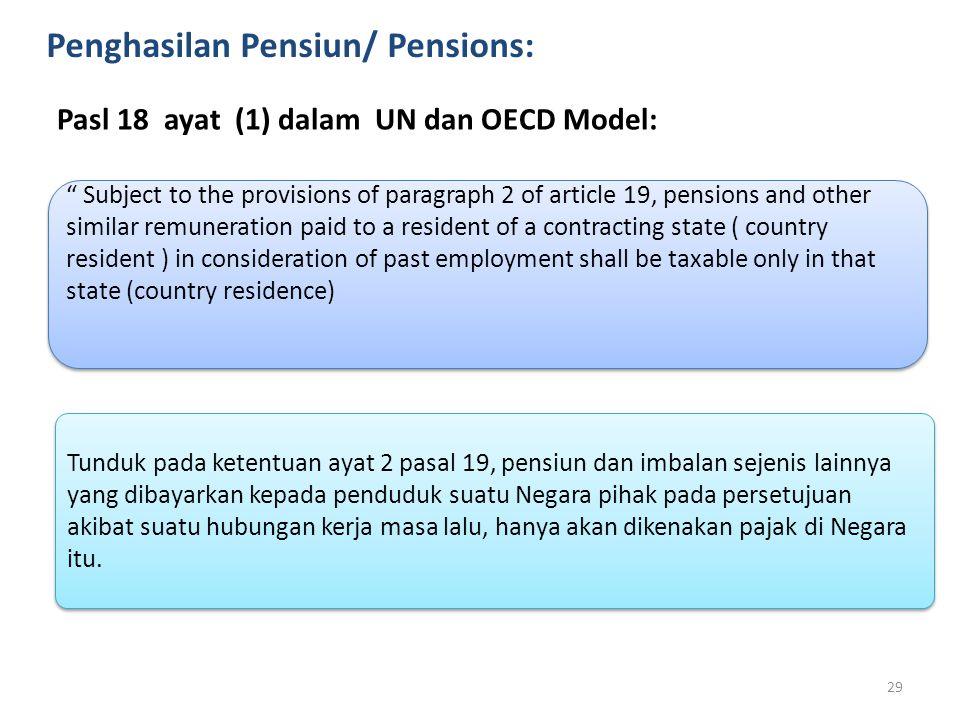 "Penghasilan Pensiun/ Pensions: Pasl 18 ayat (1) dalam UN dan OECD Model: "" Subject to the provisions of paragraph 2 of article 19, pensions and other"