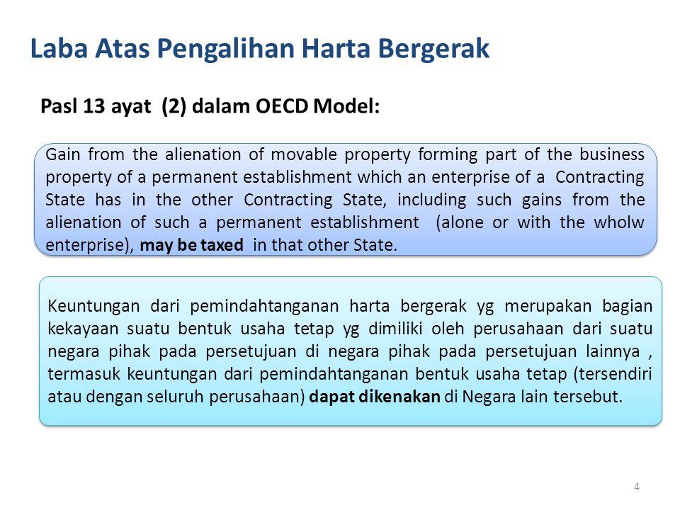 Laba Atas Pengalihan Harta Bergerak Pasl 13 ayat (2) dalam OECD Model: Gain from the alienation of movable property forming part of the business prope