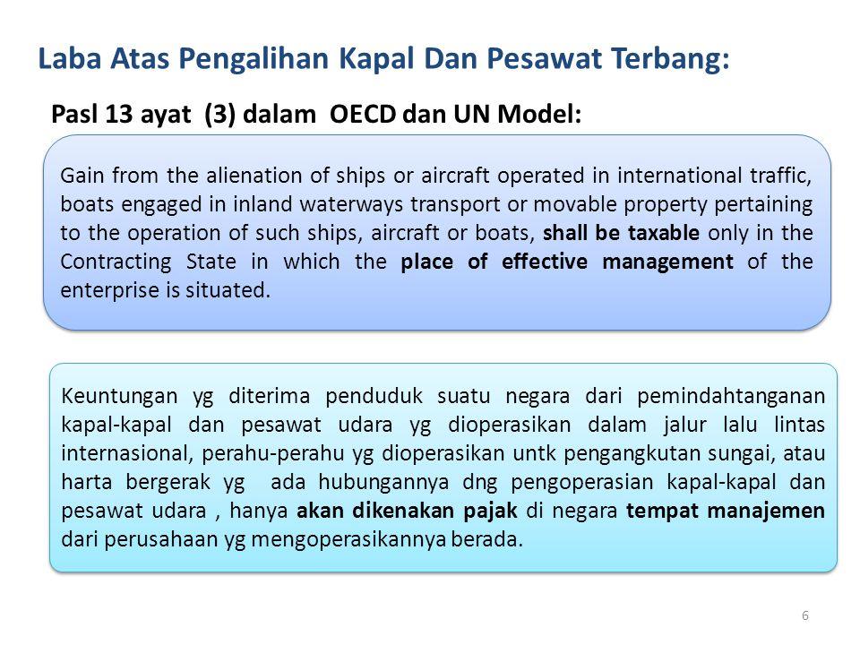 Laba Atas Pengalihan Kapal Dan Pesawat Terbang: Pasl 13 ayat (3) dalam OECD dan UN Model: Gain from the alienation of ships or aircraft operated in in