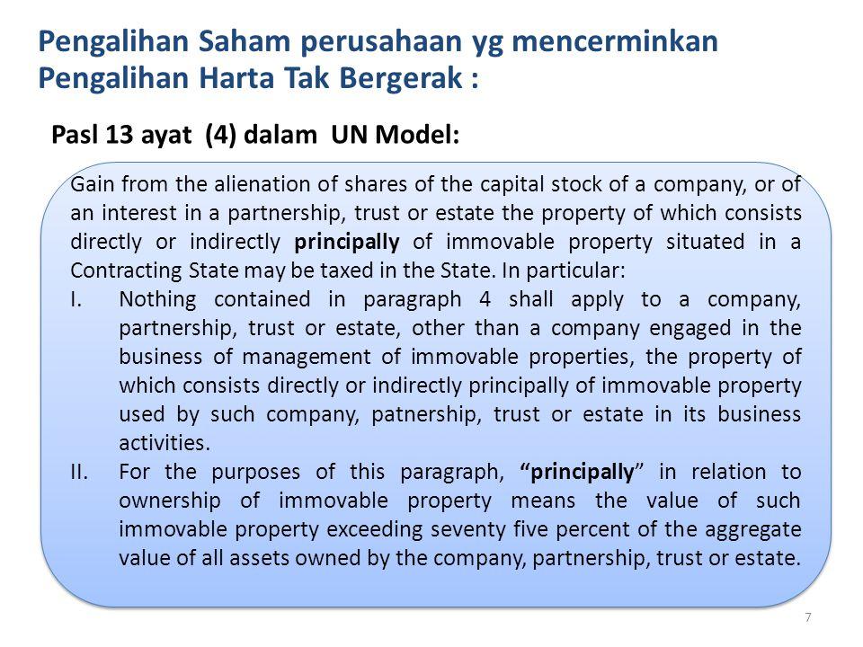 Pengalihan Saham perusahaan yg mencerminkan Pengalihan Harta Tak Bergerak : Pasl 13 ayat (4) dalam UN Model: Gain from the alienation of shares of the