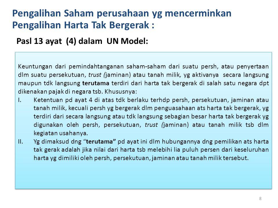 Pengalihan Saham perusahaan yg mencerminkan Pengalihan Harta Tak Bergerak : Pasl 13 ayat (4) dalam UN Model: 8 Keuntungan dari pemindahtanganan saham-