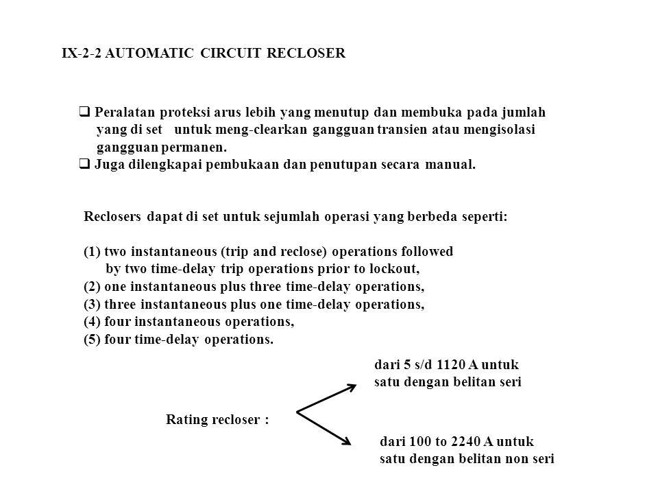 IX-2-2 AUTOMATIC CIRCUIT RECLOSER  Peralatan proteksi arus lebih yang menutup dan membuka pada jumlah yang di set untuk meng-clearkan gangguan transi