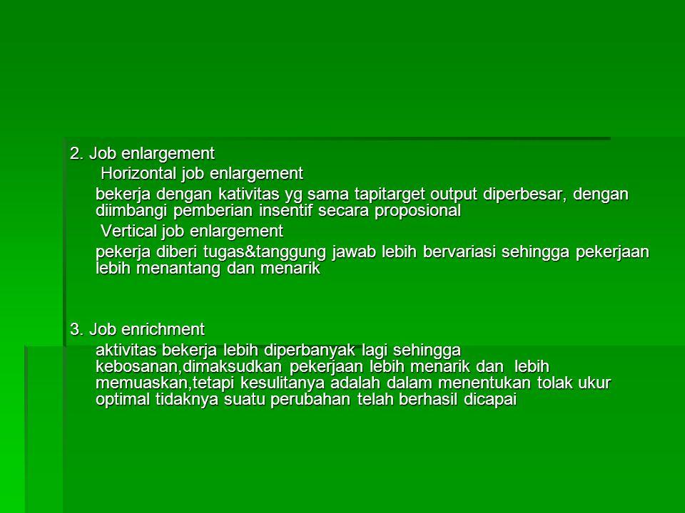 2. Job enlargement Horizontal job enlargement Horizontal job enlargement bekerja dengan kativitas yg sama tapitarget output diperbesar, dengan diimban