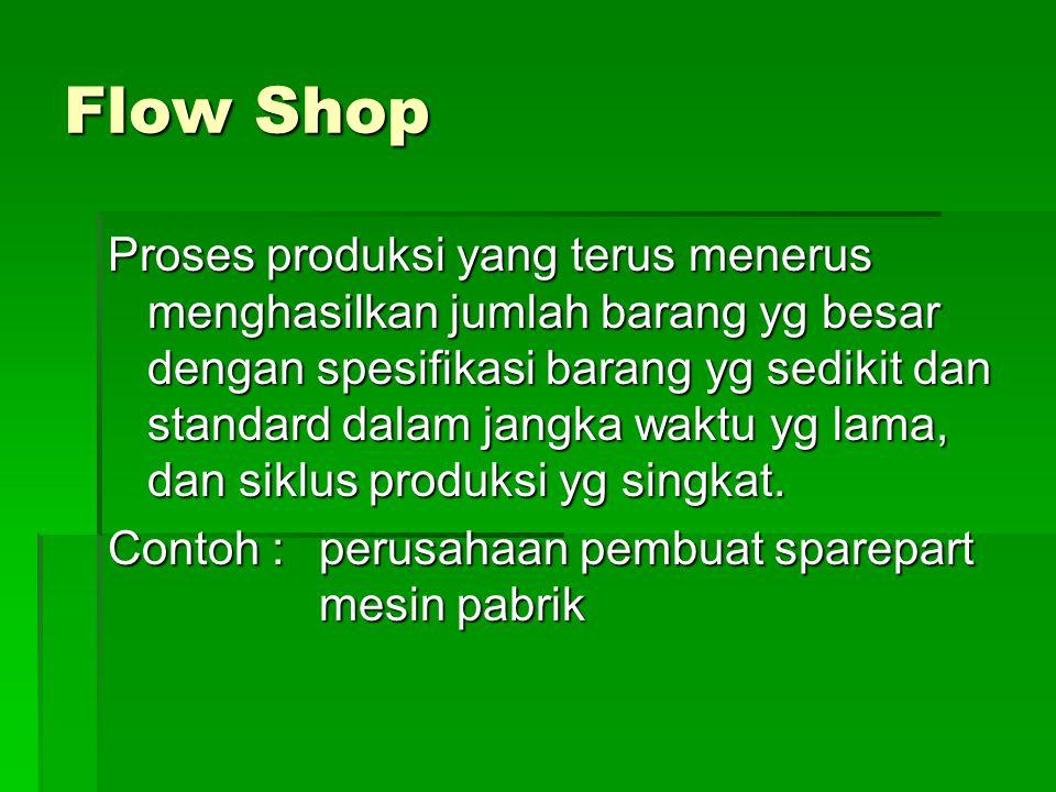 Flow Shop Proses produksi yang terus menerus menghasilkan jumlah barang yg besar dengan spesifikasi barang yg sedikit dan standard dalam jangka waktu
