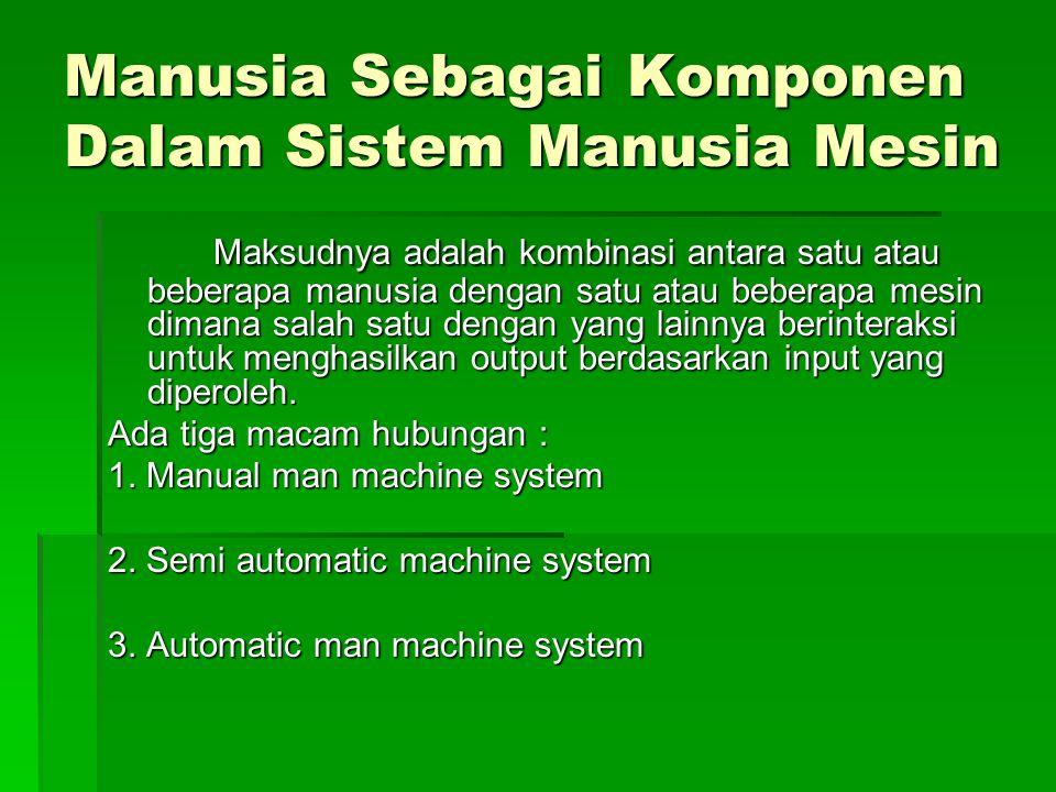 Manual Man Machine System  Disini manusia masih berperan penuh kendali baik menjadi sumber tenaga dan mengendalikan dalam melaksanakan kegiatan tersebut.