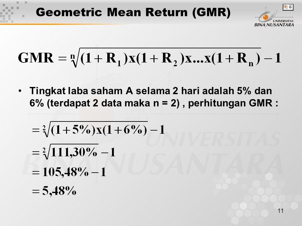 11 Geometric Mean Return (GMR) Tingkat laba saham A selama 2 hari adalah 5% dan 6% (terdapat 2 data maka n = 2), perhitungan GMR :