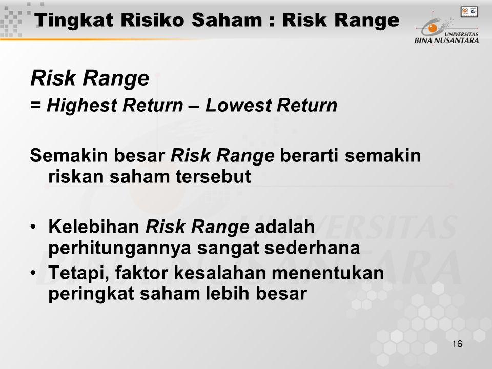 16 Tingkat Risiko Saham : Risk Range Risk Range = Highest Return – Lowest Return Semakin besar Risk Range berarti semakin riskan saham tersebut Kelebi