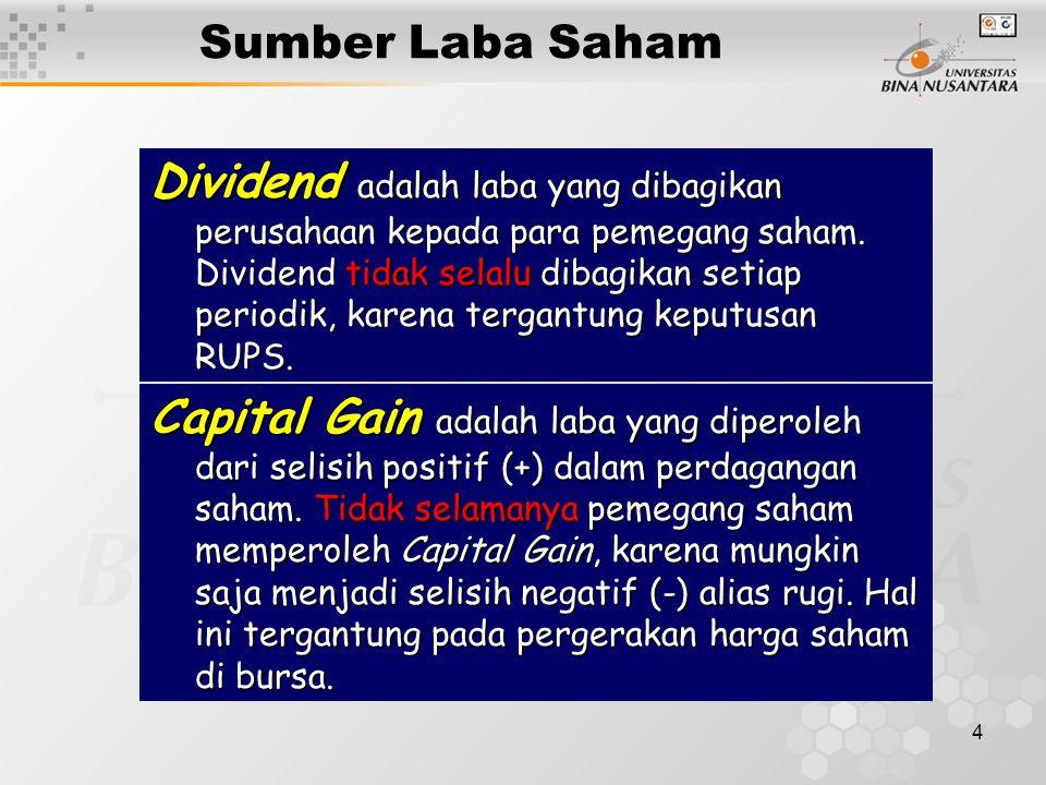 4 Sumber Laba Saham Dividend adalah laba yang dibagikan perusahaan kepada para pemegang saham. Dividend tidak selalu dibagikan setiap periodik, karena