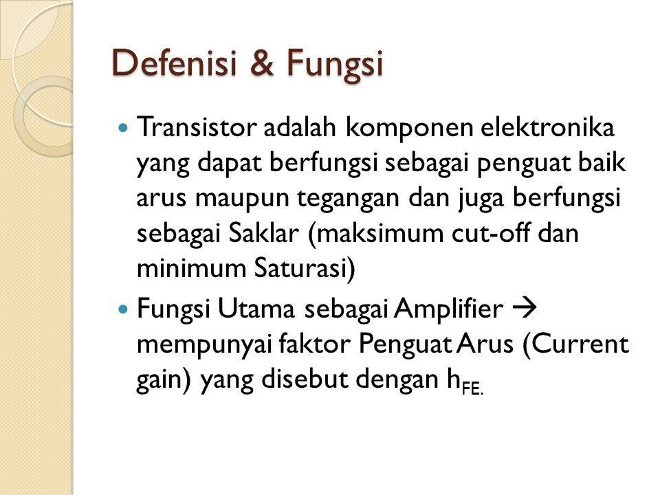 Defenisi & Fungsi Transistor adalah komponen elektronika yang dapat berfungsi sebagai penguat baik arus maupun tegangan dan juga berfungsi sebagai Sak