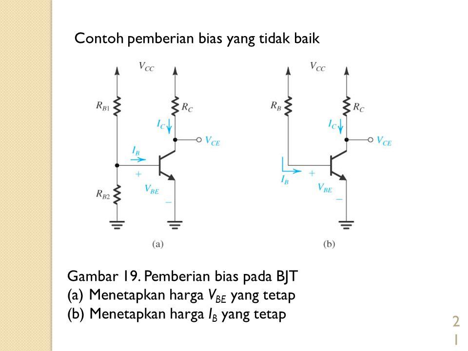 21 Gambar 19. Pemberian bias pada BJT (a) Menetapkan harga V BE yang tetap (b) Menetapkan harga I B yang tetap Contoh pemberian bias yang tidak baik