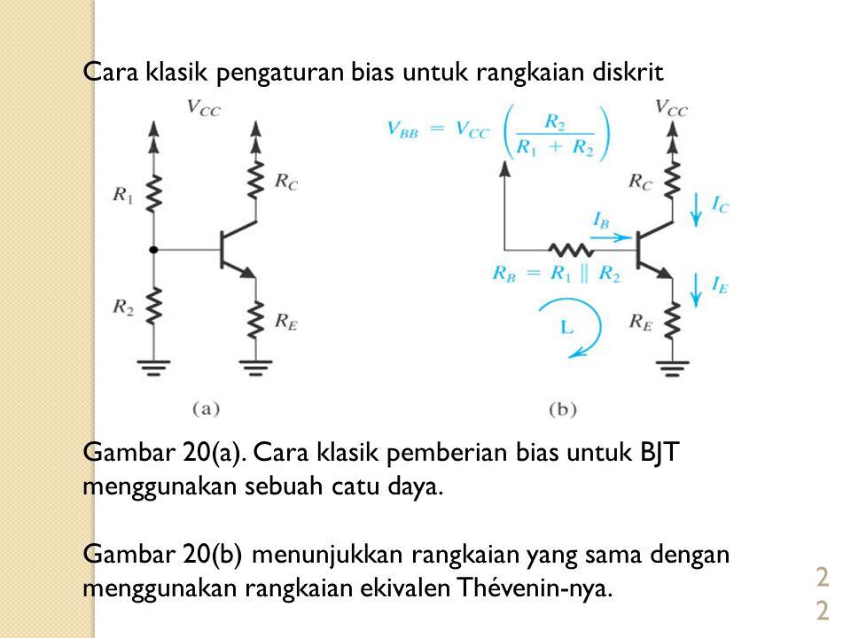 22 Cara klasik pengaturan bias untuk rangkaian diskrit Gambar 20(a). Cara klasik pemberian bias untuk BJT menggunakan sebuah catu daya. Gambar 20(b) m