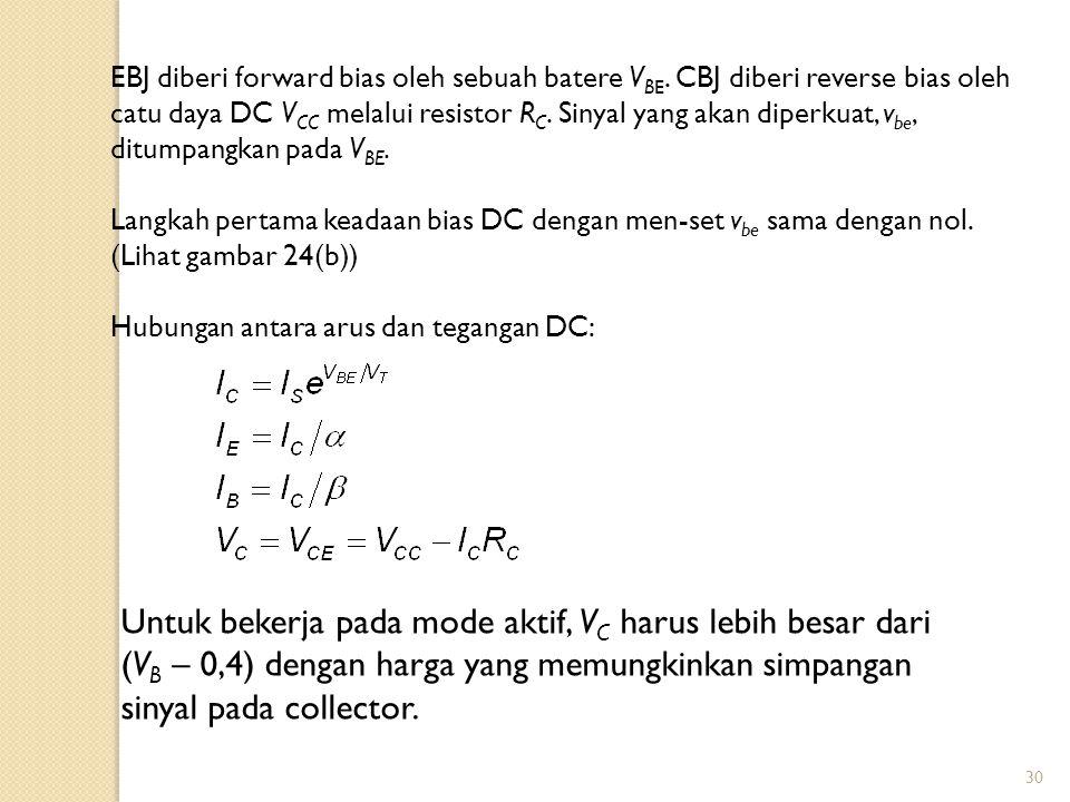 30 EBJ diberi forward bias oleh sebuah batere V BE. CBJ diberi reverse bias oleh catu daya DC V CC melalui resistor R C. Sinyal yang akan diperkuat, v