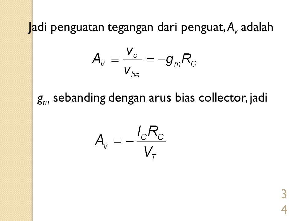 34 Jadi penguatan tegangan dari penguat, A v adalah g m sebanding dengan arus bias collector, jadi
