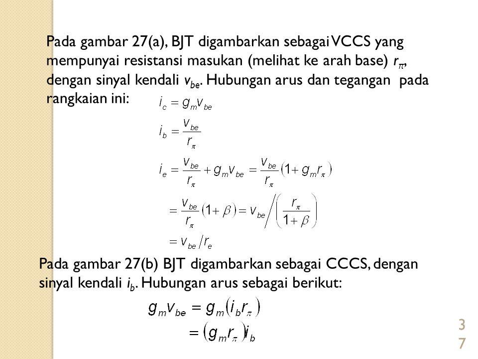 37 Pada gambar 27(a), BJT digambarkan sebagai VCCS yang mempunyai resistansi masukan (melihat ke arah base) r π, dengan sinyal kendali v be. Hubungan