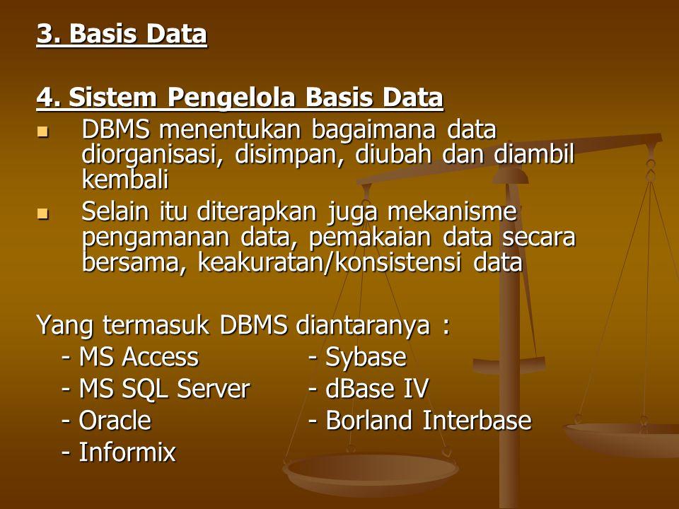 3. Basis Data 4. Sistem Pengelola Basis Data DBMS menentukan bagaimana data diorganisasi, disimpan, diubah dan diambil kembali DBMS menentukan bagaima
