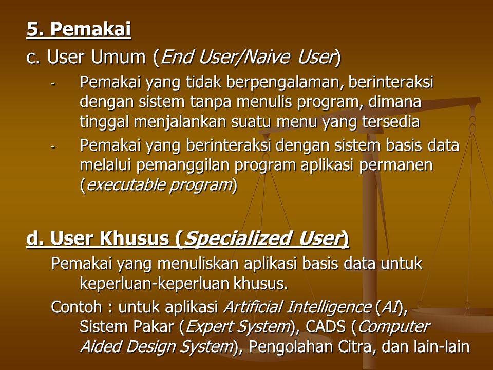 5. Pemakai c. User Umum (End User/Naive User) - Pemakai yang tidak berpengalaman, berinteraksi dengan sistem tanpa menulis program, dimana tinggal men