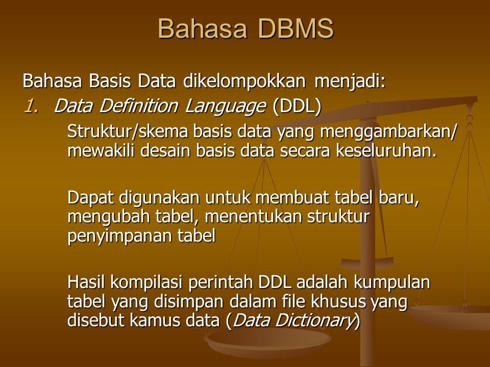Bahasa DBMS Bahasa Basis Data dikelompokkan menjadi: 1.Data Definition Language (DDL) Struktur/skema basis data yang menggambarkan/ mewakili desain ba