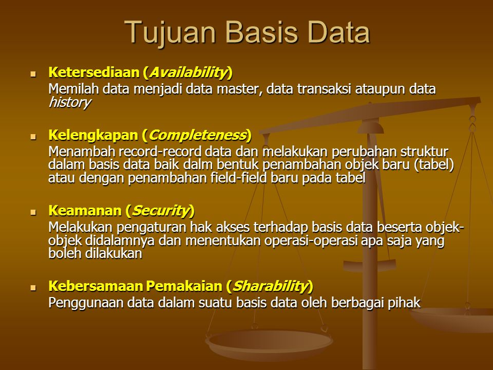 Operasi Dasar Basis Data Menghilangkan redundansi data dapat dilakukan dengan : - Menerapkan sejumlah pengkodean - Membuat relasi-relasi antar kelompok data yang saling berhubungan