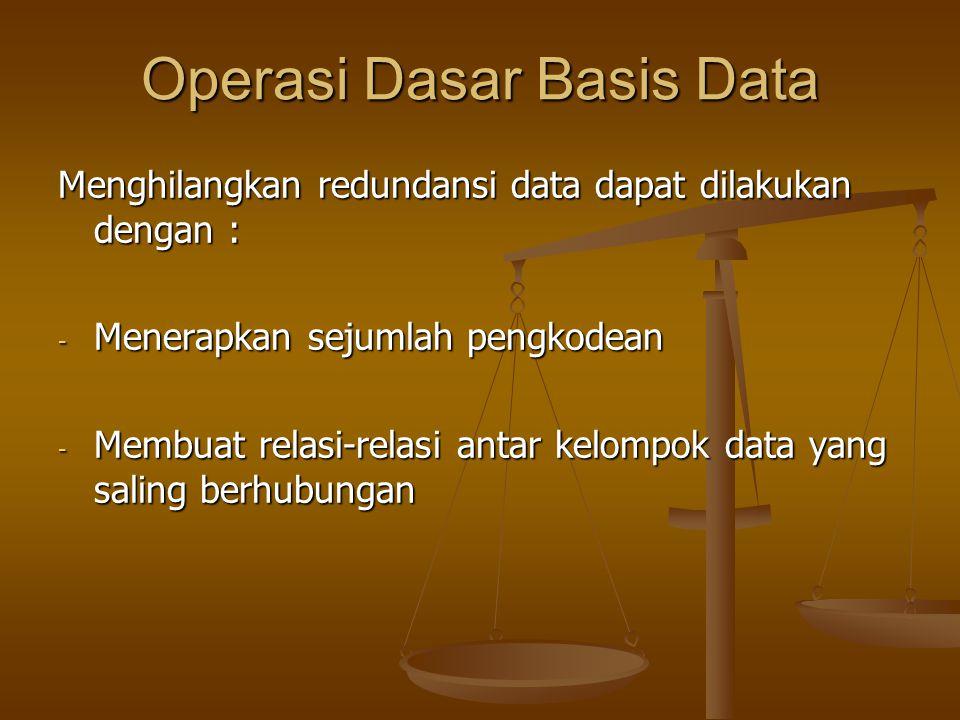Operasi Dasar Basis Data Menghilangkan redundansi data dapat dilakukan dengan : - Menerapkan sejumlah pengkodean - Membuat relasi-relasi antar kelompo