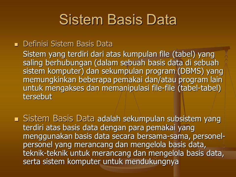 Sistem Basis Data Definisi Sistem Basis Data Definisi Sistem Basis Data Sistem yang terdiri dari atas kumpulan file (tabel) yang saling berhubungan (dalam sebuah basis data di sebuah sistem komputer) dan sekumpulan program (DBMS) yang memungkinkan beberapa pemakai dan/atau program lain untuk mengakses dan memanipulasi file-file (tabel-tabel) tersebut Sistem Basis Data adalah sekumpulan subsistem yang terdiri atas basis data dengan para pemakai yang menggunakan basis data secara bersama-sama, personel- personel yang merancang dan mengelola basis data, teknik-teknik untuk merancang dan mengelola basis data, serta sistem komputer untuk mendukungnya Sistem Basis Data adalah sekumpulan subsistem yang terdiri atas basis data dengan para pemakai yang menggunakan basis data secara bersama-sama, personel- personel yang merancang dan mengelola basis data, teknik-teknik untuk merancang dan mengelola basis data, serta sistem komputer untuk mendukungnya