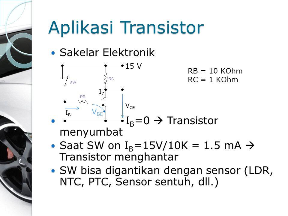 Sakelar Elektronik Saat SW off I B =0  Transistor menyumbat Saat SW on I B =15V/10K = 1.5 mA  Transistor menghantar SW bisa digantikan dengan sensor