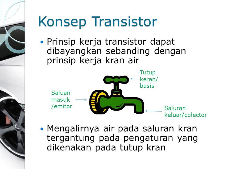 Konsep Transistor Prinsip kerja transistor dapat dibayangkan sebanding dengan prinsip kerja kran air Mengalirnya air pada saluran kran tergantung pada
