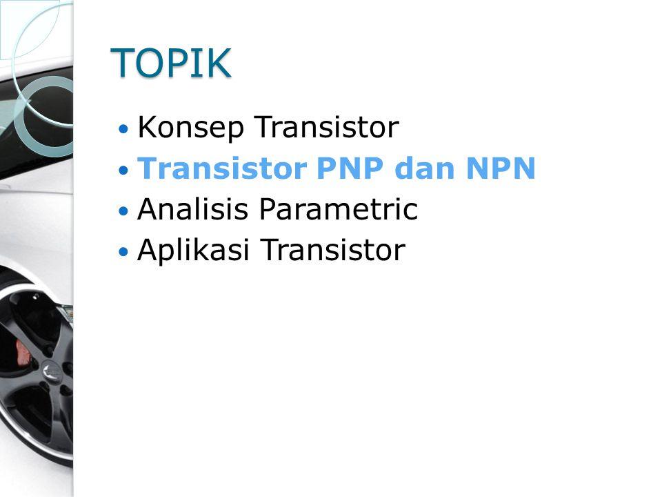 TOPIK Konsep Transistor Transistor PNP dan NPN Analisis Parametric Aplikasi Transistor