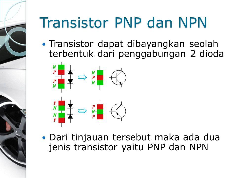Transistor PNP dan NPN Transistor dapat dibayangkan seolah terbentuk dari penggabungan 2 dioda Dari tinjauan tersebut maka ada dua jenis transistor ya